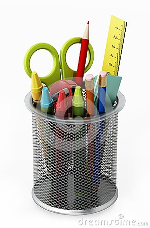 Free Metal Pencil Holder With School Supplies. 3D Illustration Stock Photos - 104823443