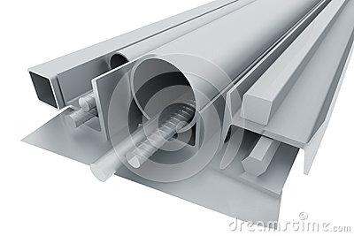 Metal pipes, angles, channels, fixtures and sheet