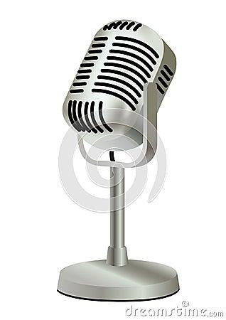 Metal plastic old vintage microphone
