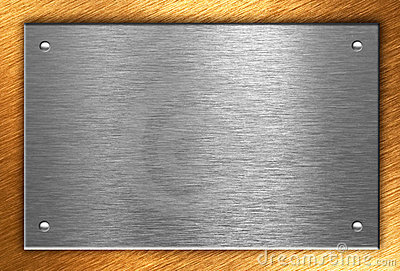 Metal plate with four rivets over bronze