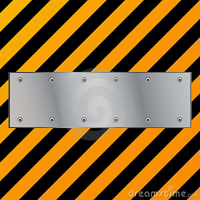 Metal plate on grunge background