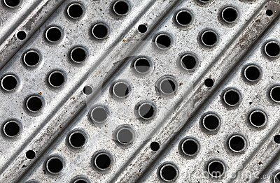 Metal plate with holes texture