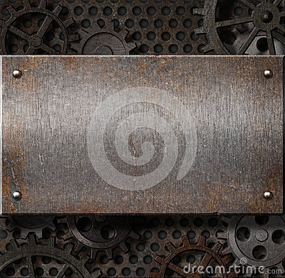 Free Metal Plate Over Rusty Gears Background Stock Photography - 24932382