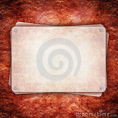 Metal plate on red rough wall