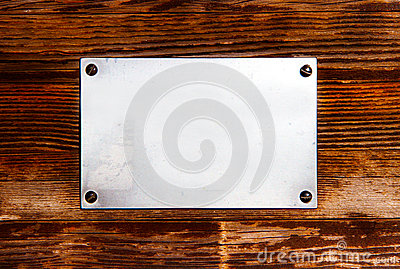Metal plate on a wood