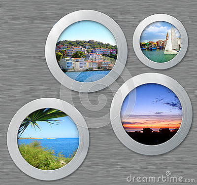 Free Metal Porthole With Travel Photos Royalty Free Stock Images - 39693409