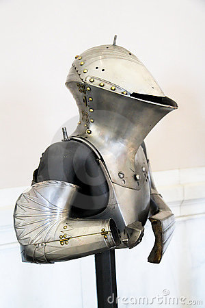 Metal protection of the knight against the weapon
