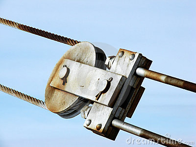 Metal pulley and cable