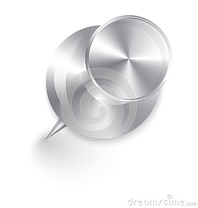 Metal push pin vector