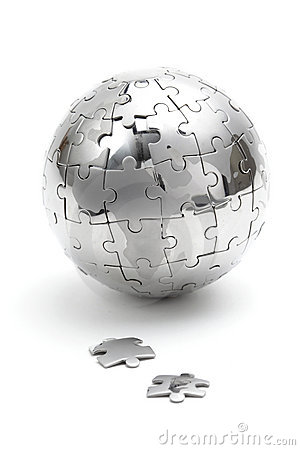 Metal puzzle globe on white background