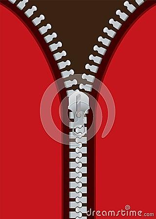 Metal red zip