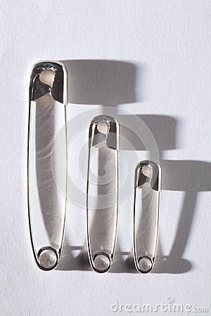 Metal Safety Pins with Shadows