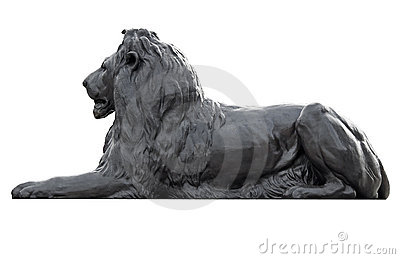 Metal sculpture of a lion in Trafalgar Square