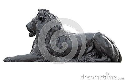 Metal sculpture of a lion in Trafalgar Square