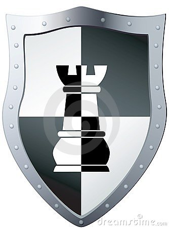 Metal shield a chess piece.