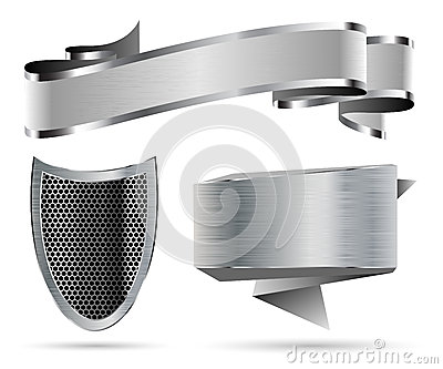 Metal Shield, Ribbon, Banner