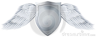Metal shield with wings.