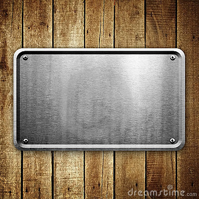 Free Metal Sign On Wood Plank Background Stock Photos - 11622333