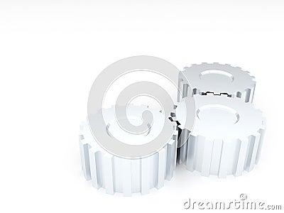 Metal silvery gears