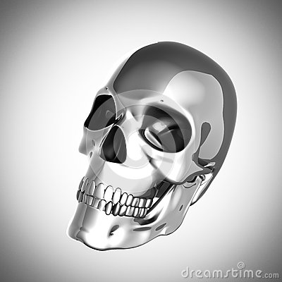 Metal skull on gray background