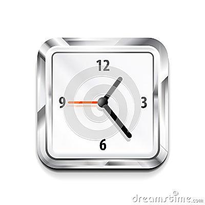 Metal square clock icon. Vector illustration