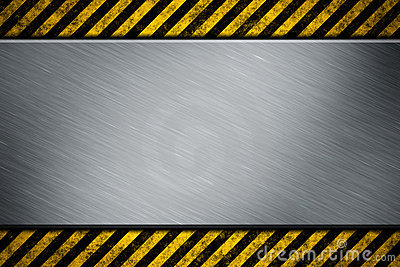 Metal template with warning stripe