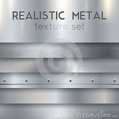Free Metal Texture Realistic Horizontal Samples Set Royalty Free Stock Images - 88884169