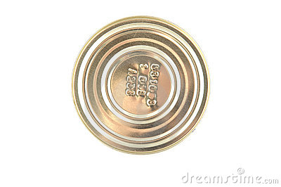 Metal tin on white closeup