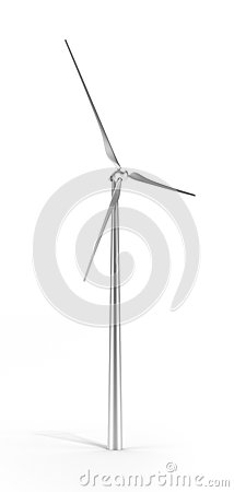 Metal wind turbine isolated