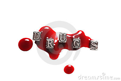 Metal Word drugs in drops of blood