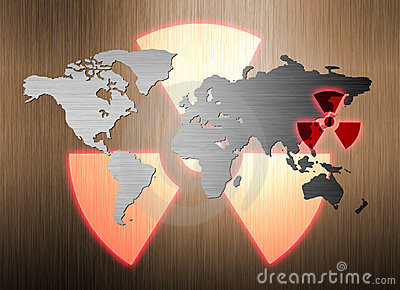 Metal world map and nuclear radiation leak
