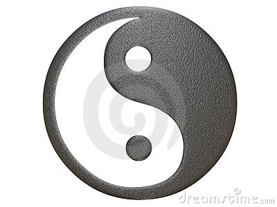 Metal ying yang sign