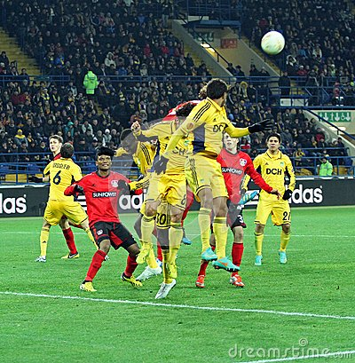 Metalist Kharkiv vs Bayer Leverkusen match Editorial Photography