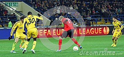 Metalist Kharkiv vs Bayer Leverkusen match Editorial Stock Photo