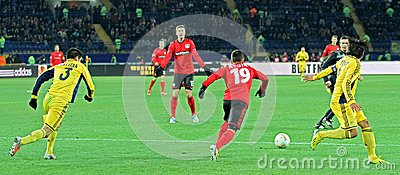 Metalist Kharkiv vs Bayer Leverkusen match Editorial Stock Image