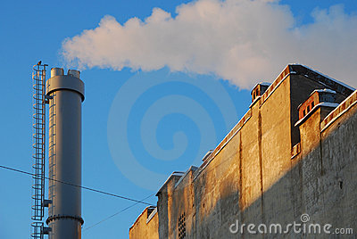Metall pipe on blue sky