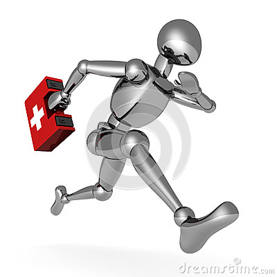 Free Metallic 3d Man Running With First Aid Medical Box Royalty Free Stock Images - 27938079