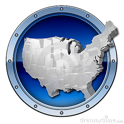 Metallic 3d USA logo