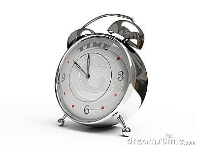 Metallic alarm clock isolated on white background