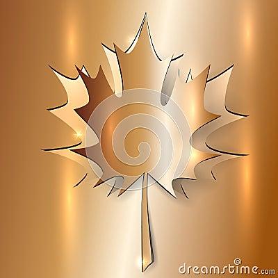 Metallic Autumn Maple Leaf