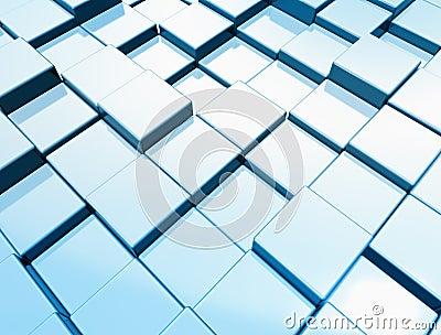 Metallic blue cube background