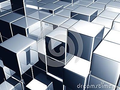 Metallic blue cube dynamic background