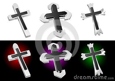 Metallic Christian Cross Vector