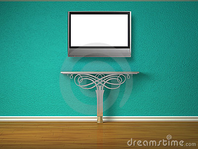 Metallic console-table with lcd tv