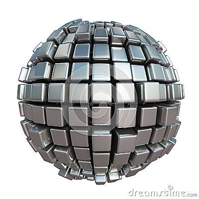 Free Metallic Cube Sphere Stock Image - 82342551