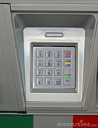 Metallic dial keypad, bank security concept,