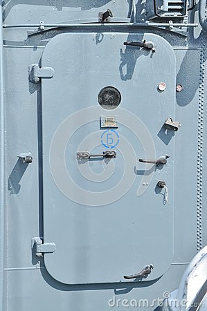 Metallic door of the marine ship