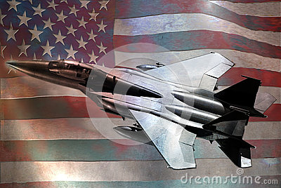 Metallic F15 and US flag