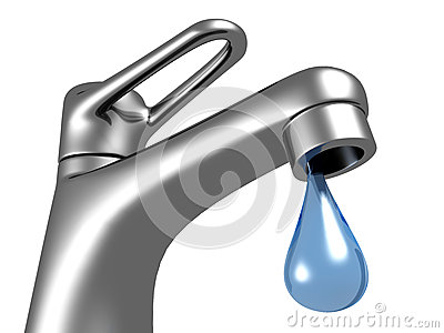Metallic faucet with blue water drop on white background