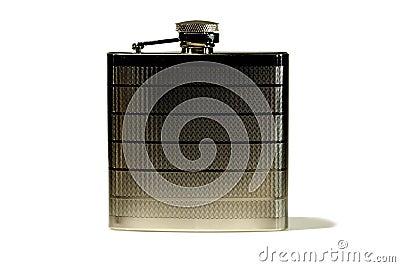 Metallic flask isolated on white